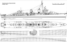 Explore collection of Destroyer Drawing Fletcher Class Destroyer, Boat Drawing, Naval History, Deck Plans, Navy Ships, Military Weapons, Model Ships, War Machine, Battleship
