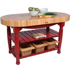 AmazonSmile: American Heritage Harvest Kitchen Island with Butcher Block Top Base Finish: Barn Red: Furniture & Decor