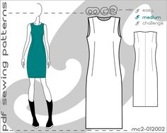 PDF Sewing Patterns for Women Classic Close-Fit Sheath Dress Sloper Block > by mc2patterns > S-M-L Small-Medium-Large > mc2-012002 > Instant Download - JUST CLICK