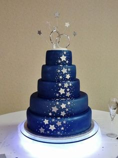 9 3 Tier Wedding Cakes With Stars And Moons Photo. Awesome 3 Tier Wedding Cakes with Stars and Moons image. Star Themed Wedding Cake Star Blue and Silver Wedding Cake Moon and Stars Themed Wedding Cake Cakes with Stars Theme Starry Night Wedding Cake Galaxy Wedding, Starry Night Wedding, Moon Wedding, Celestial Wedding, Blue Wedding, Sweet Sixteen, Wedding Themes, Wedding Cakes, Wedding Ideas
