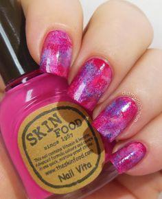 Pink Week: Sponged Nails