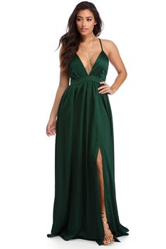 Adriana Emerald Reigning Royalty Dress | WindsorCloud (Could add crystal strips to belt line and tailor plunge neck line)