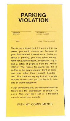 Fake Insulting Parking Tickets