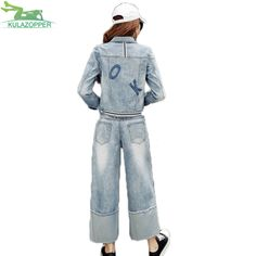 Womens set fashion denim jacket casual solid spliced short style top and loos Wide leg jeans female denim suit 2-piece QW432