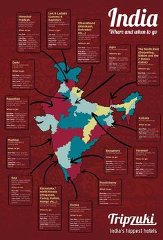 India is a vast and brilliant country to visit. But somewhere so big can be tricky to navigate — you don't want to end up in Pondicherry when the monsoon hits! Infographic on the best time to visit each state in India. India Travel Guide, Asia Travel, Travel In India, Tourism India, Girl Travel, Vietnam Travel, Italy Travel, Agra, Taj Mahal