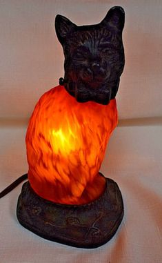 Vintage-7-5-034-Bronze-Cat-Lamp-Night-Light-with-Amber-Glass