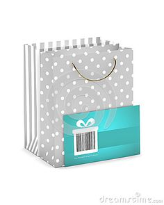 Discount card with shopping bags  on white background