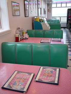 American Apparel - Nifty Fiftys Soda Fountain - Pink and green heaven...