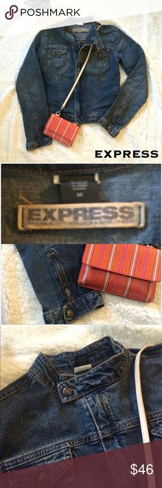 Express Jean Jacket - EUC Great denim jacket. Zippered closure with snaps on the collar and bottom hem to keep it looking neat when closed. Zippered sleeves at the wrist for easier and looser rolling. Adjustable snaps in the back to make it fitted. This is a very nice dense denim that will last for years to come. Express Jackets & Coats Jean Jackets