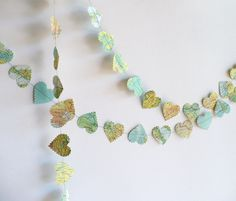 romantic heart world map paper garland   - wedding decoration, vintage paper hearts, party decoration