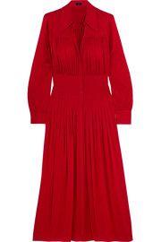 JosephJosie pleated stretch-silk crepe de chine midi dress