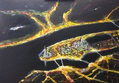 """""""The city that never sleeps"""" Oilstick auf Leinwand 70x100"""