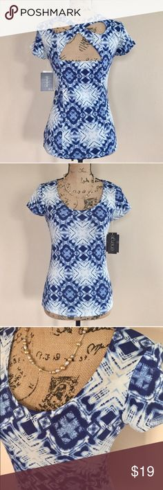 "NWT Ikat print cross back top NWT Blue and white ikat print top from Macy's. Cross cross accent on back. Scoop neck, short sleeves, fitted shape. Size M. 95% cotton 5% elastane. Machine wash. Bust measures 16"", length 23"".  ⭐️ Tops"
