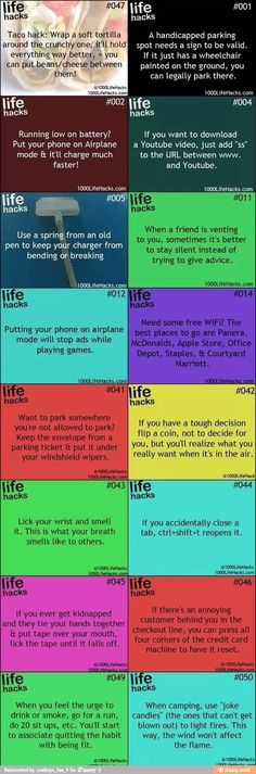 Life hacks. The one about handicapped parking is bad though.