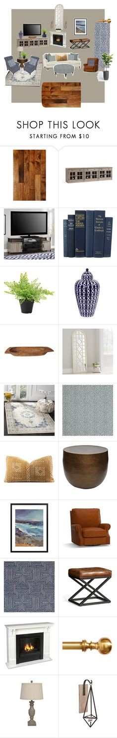 """""""J's Great Room"""" by marytyb on Polyvore featuring interior, interiors, interior design, home, home decor, interior decorating, Miseno, Pottery Barn, Altra and Howard Elliott"""