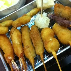 "Osaka local food ""Kushikatsu""."
