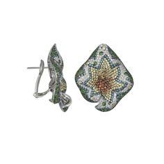 Salavetti 18K White Gold Leaf Earrings with Sapphire, Tsavorite & Diamonds featured in vente-privee.com