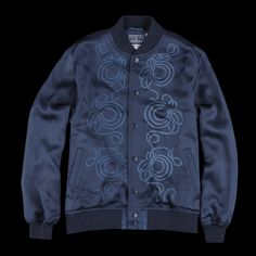 """BLUE BLUE JAPAN - Hand Dyed Rayon Satin """"Bassin"""" Baseball Jacket with Rope Knot in Indigo"""