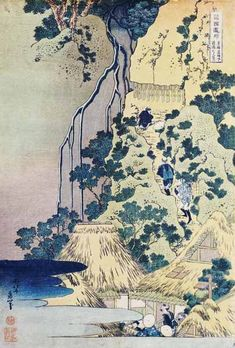 Katsushika Hokusai - Travellers Climbing Up A Steep Hill To Pay Homage To A Kannon Shrine In A Cave By The Waterfall