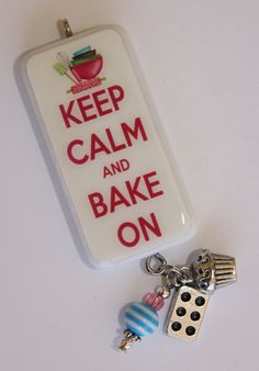 Domino Jewelry - Keep Calm and Bake On Domino Tile Pendant With by LuellaBlue, $12.00
