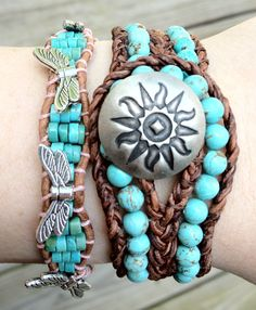 Bohemian Turquoise Beaded Leather Cuff Bracelet by DESIGNbyANCE, $49.00