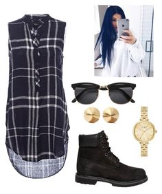 """""""shirt dress outfit"""" by bombstyler ❤ liked on Polyvore featuring Timberland, Kate Spade, Eddie Borgo and shirtdress"""
