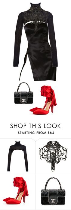 """""""SATIN"""" by miriedkarissa0802 ❤ liked on Polyvore featuring Preen, River Island, Christian Louboutin and Chanel"""