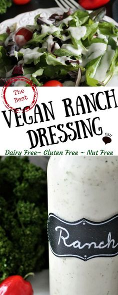 This Dairy Free Ranch Dressing is vegan, gluten free, cholesterol free, and can be made soy free too. Kids and adults love this dressing! A vegan version of hidden valley ranch! thehiddenveggies.com