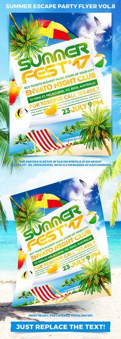 Summer Escape Party Flyer Template PSD
