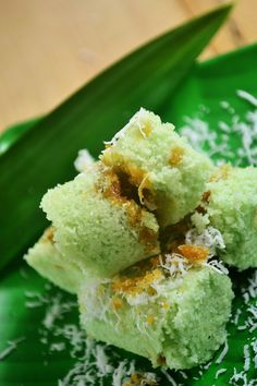 Kue Putu is traditional snacks made from rice flour with pandan leaves flavor + filling from palm sugar