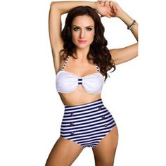 Retro Navy Stripes High Wasted Bikini | Atomic Jane Clothing