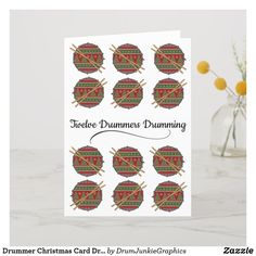 "Twelve Days of Christmas Card featuring snare drums with ""ugly christmas sweater"" designs - great for musicians and music lovers! #drummerchristmas #snaredrum #drumsticks #drumjunkie"