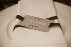 napkin-wrapped placecards   (event planning by rosemary events.com, photo by abby ross weddings)