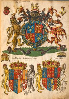 «Insignia Anglica», [S.l.] England, Mitte 16. Jh. [BSB-Hss Cod.icon. 291] -- f°2r (=Bildnr.7): Le roy d'Angleterre...