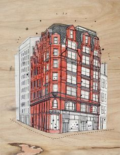 James Gulliver Hancock, an Australian illustrator living in Brooklyn draws the many buildings in NYC