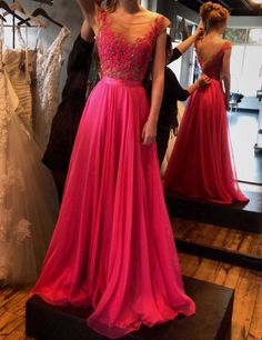 Elegant Fuchsia Appliques A-line Cap Sleeves Long Prom Dresses Evening Gowns