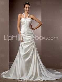 Lanting Bride Trumpet/Mermaid Petite / Plus Sizes Wedding Dress-Chapel Train Halter Satin 2016 - $169.99