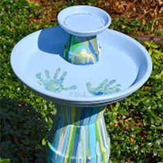 Painted Terra Cotta Pot Bird Bath - kid friendly project!