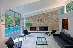 mid century modern fireplace - Google Search