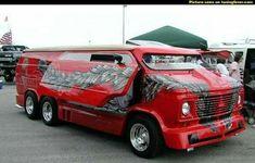 Custom red Chevy 6 wheel van 1