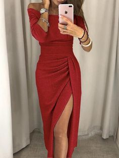 d8b7f3191 winter dress women Sexy Club shiny slit push up slash neck party formal 3  colors