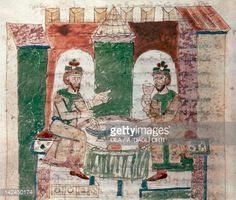 Fine art : The Lord's table, miniature from De universo by Rabano Mauro, manuscript, Italy 11th Century.