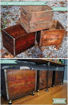 DIY Vintage rolling wooden crates, antique rehab, industrial storage, home decor, easy DIY Diy Vintage, Vintage Industrial Decor, Industrial Storage, Antique Decor, Vintage Home Decor, Vintage Pins, Industrial Chic, Vintage Metal, Industrial Design