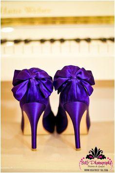 Royal purple satin ribbon bow heels