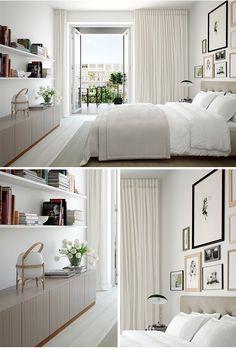 el blanco da la sensación de espacio abierto, limpio y puro. paredes blancas convinadas con cenefa pastel o neutra