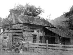 Johnny Jackson in front of the Jackson Log Cabin,  Hillsgrove, PA. Photo Taken Before 1903.