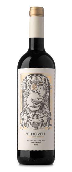 Vi Novell 2011. This is a fresh and fruity wine which is bottled before its fermentation is finished. Therefore, it must be consumed within a short space of time. As the wine is bottled coinciding with the local celebration of the slaughtering of the pig and inspired by vintage illustrations of saints, we decided to sanctify the pig on its day of sacrifice.