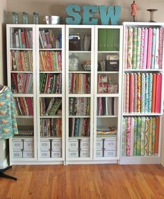 Sewing Fabric Storage Smashed Peas and Carrots: My Sewing Studio Tour-The Reveal! Sewing Room Design, Sewing Room Storage, Craft Room Design, Sewing Spaces, Sewing Room Organization, Craft Room Storage, My Sewing Room, Sewing Rooms, Sewing Studio