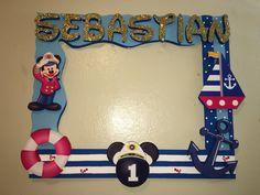 Mickey Mouse sailor captain nautical photobooth frame Mickey 1st Birthdays, Mickey Mouse Bday, Mickey Party, Mickey Mouse Birthday, Sailor Birthday, Sailor Party, Baby Birthday, Birthday Parties, Nautical Mickey