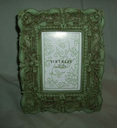 ORNATE ANTIQUED BAROQUE SAGE GREEN PICTURE FRAME FOR 4x6 PHOTO